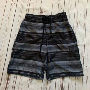 Speedo Black Striped Swim Trunks
